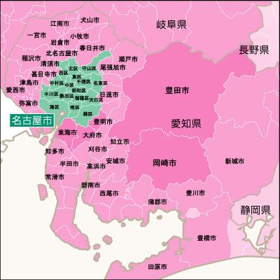 地域別対応状況・愛知県詳細地図