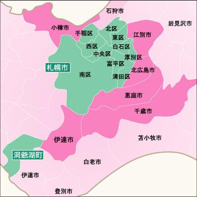 地域別対応状況・札幌市周辺詳細地図